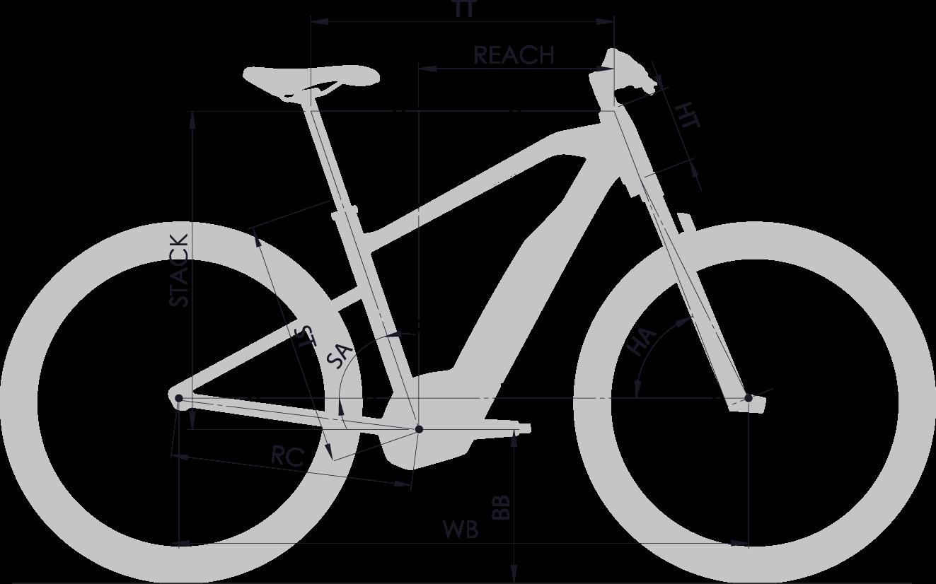 Géométrie cadre vélo électrique Moustache 2018